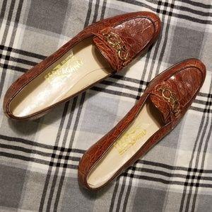 Salvatore Ferragamo crocodile print loafers